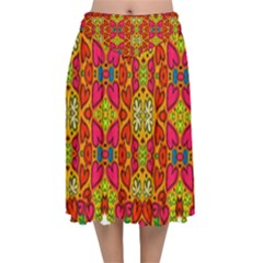 Abstract Background Pattern Doodle Velvet Flared Midi Skirt by Celenk