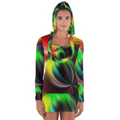 Circle Lines Wave Star Abstract Long Sleeve Hooded T-shirt by Celenk
