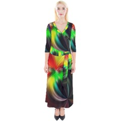 Circle Lines Wave Star Abstract Quarter Sleeve Wrap Maxi Dress
