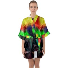 Circle Lines Wave Star Abstract Quarter Sleeve Kimono Robe by Celenk