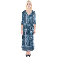 Church Stone Rock Building Quarter Sleeve Wrap Maxi Dress by Celenk