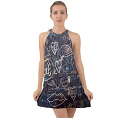 Graffiti Chalkboard Blackboard Love Halter Tie Back Chiffon Dress by Celenk