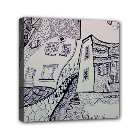Doodle Drawing Texture Style Mini Canvas 6  X 6  by Celenk