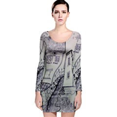 Doodle Drawing Texture Style Long Sleeve Bodycon Dress