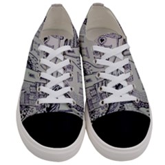 Doodle Drawing Texture Style Women s Low Top Canvas Sneakers