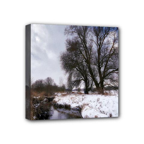 Winter Bach Wintry Snow Water Mini Canvas 4  X 4