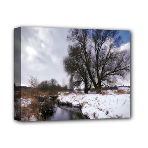 Winter Bach Wintry Snow Water Deluxe Canvas 14  X 11  by Celenk