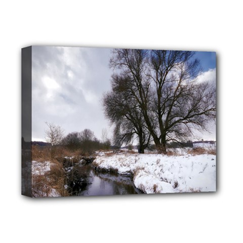 Winter Bach Wintry Snow Water Deluxe Canvas 16  X 12   by Celenk