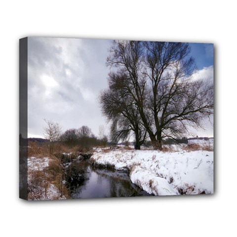 Winter Bach Wintry Snow Water Deluxe Canvas 20  X 16   by Celenk