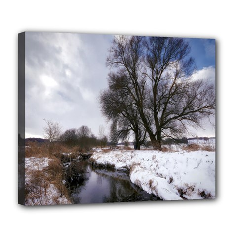 Winter Bach Wintry Snow Water Deluxe Canvas 24  X 20   by Celenk
