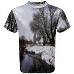 Winter Bach Wintry Snow Water Men s Cotton Tee by Celenk