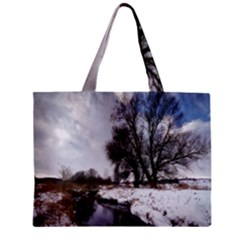 Winter Bach Wintry Snow Water Zipper Mini Tote Bag by Celenk