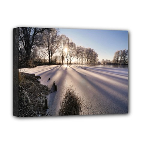 Winter Lake Cold Wintry Frozen Deluxe Canvas 16  X 12   by Celenk