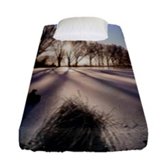 Winter Lake Cold Wintry Frozen Fitted Sheet (single Size) by Celenk