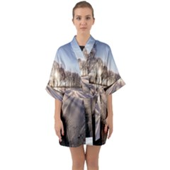 Winter Lake Cold Wintry Frozen Quarter Sleeve Kimono Robe