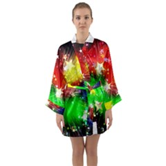 Star Abstract Pattern Background Long Sleeve Kimono Robe