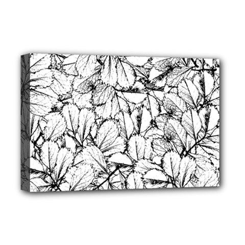 White Leaves Deluxe Canvas 18  X 12   by SimplyColor