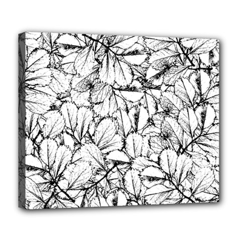 White Leaves Deluxe Canvas 24  X 20   by SimplyColor