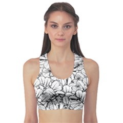 White Leaves Sports Bra