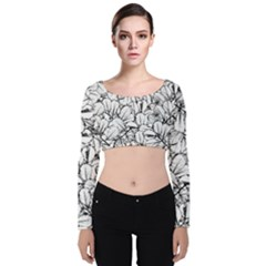 White Leaves Velvet Long Sleeve Crop Top by SimplyColor