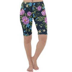 Beautiful Floral Pattern Cropped Leggings  by allthingseveryone