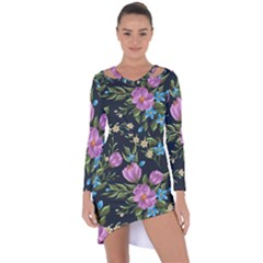 Beautiful Floral Pattern Asymmetric Cut Out Shift Dress