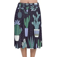 Cactus Pattern Velvet Flared Midi Skirt by allthingseveryone