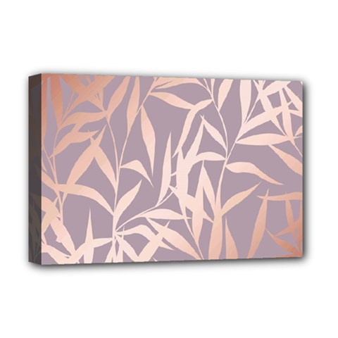Rose Gold, Asian,leaf,pattern,bamboo Trees, Beauty, Pink,metallic,feminine,elegant,chic,modern,wedding Deluxe Canvas 18  X 12   by 8fugoso