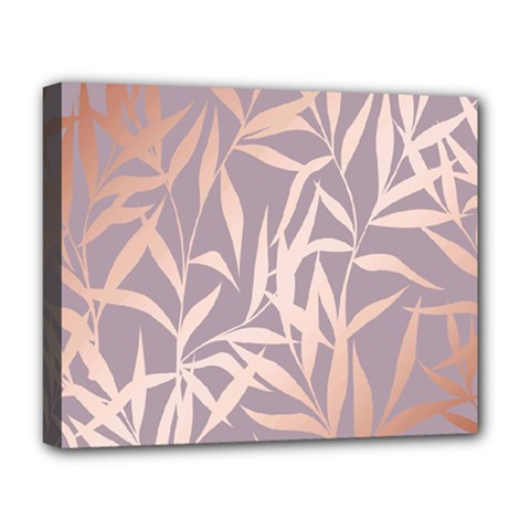 Rose Gold, Asian,leaf,pattern,bamboo Trees, Beauty, Pink,metallic,feminine,elegant,chic,modern,wedding Deluxe Canvas 20  X 16
