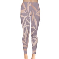 Rose Gold, Asian,leaf,pattern,bamboo Trees, Beauty, Pink,metallic,feminine,elegant,chic,modern,wedding Leggings