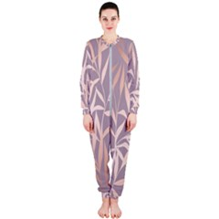 Rose Gold, Asian,leaf,pattern,bamboo Trees, Beauty, Pink,metallic,feminine,elegant,chic,modern,wedding Onepiece Jumpsuit (ladies)
