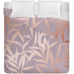 Rose Gold, Asian,leaf,pattern,bamboo Trees, Beauty, Pink,metallic,feminine,elegant,chic,modern,wedding Duvet Cover Double Side (king Size)