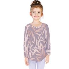 Rose Gold, Asian,leaf,pattern,bamboo Trees, Beauty, Pink,metallic,feminine,elegant,chic,modern,wedding Kids  Long Sleeve Tee