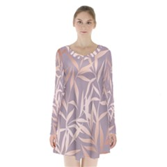 Rose Gold, Asian,leaf,pattern,bamboo Trees, Beauty, Pink,metallic,feminine,elegant,chic,modern,wedding Long Sleeve Velvet V Neck Dress