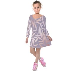 Rose Gold, Asian,leaf,pattern,bamboo Trees, Beauty, Pink,metallic,feminine,elegant,chic,modern,wedding Kids  Long Sleeve Velvet Dress