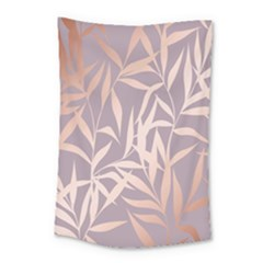 Rose Gold, Asian,leaf,pattern,bamboo Trees, Beauty, Pink,metallic,feminine,elegant,chic,modern,wedding Small Tapestry by 8fugoso