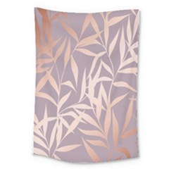 Rose Gold, Asian,leaf,pattern,bamboo Trees, Beauty, Pink,metallic,feminine,elegant,chic,modern,wedding Large Tapestry by 8fugoso