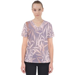 Rose Gold, Asian,leaf,pattern,bamboo Trees, Beauty, Pink,metallic,feminine,elegant,chic,modern,wedding Scrub Top
