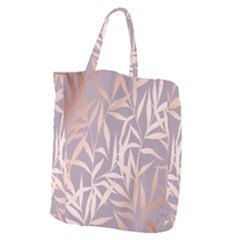 Rose Gold, Asian,leaf,pattern,bamboo Trees, Beauty, Pink,metallic,feminine,elegant,chic,modern,wedding Giant Grocery Zipper Tote