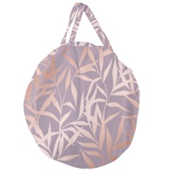 Rose Gold, Asian,leaf,pattern,bamboo Trees, Beauty, Pink,metallic,feminine,elegant,chic,modern,wedding Giant Round Zipper Tote
