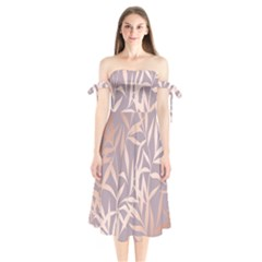 Rose Gold, Asian,leaf,pattern,bamboo Trees, Beauty, Pink,metallic,feminine,elegant,chic,modern,wedding Shoulder Tie Bardot Midi Dress