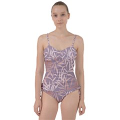 Rose Gold, Asian,leaf,pattern,bamboo Trees, Beauty, Pink,metallic,feminine,elegant,chic,modern,wedding Sweetheart Tankini Set