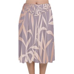 Rose Gold, Asian,leaf,pattern,bamboo Trees, Beauty, Pink,metallic,feminine,elegant,chic,modern,wedding Velvet Flared Midi Skirt