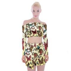 Colorful Butterflies Off Shoulder Top With Mini Skirt Set
