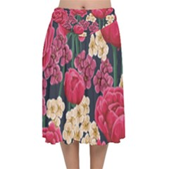 Pink Roses And Daisies Velvet Flared Midi Skirt by allthingseveryone