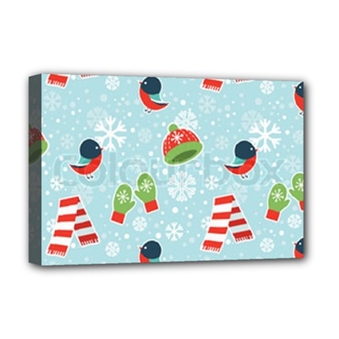 Winter Fun Pattern Deluxe Canvas 18  X 12   by allthingseveryone