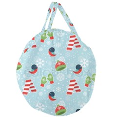 Winter Fun Pattern Giant Round Zipper Tote by allthingseveryone