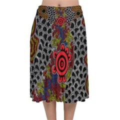 Aboriginal Art - Waterholes Velvet Flared Midi Skirt by hogartharts