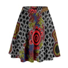 Aboriginal Art   Meeting Places High Waist Skirt