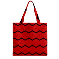 Red Box Pattern Grocery Tote Bag by berwies